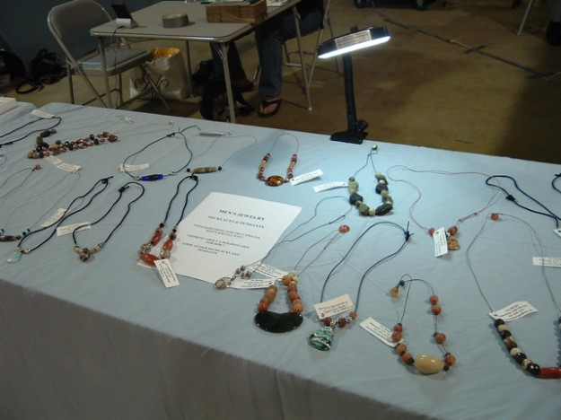 "Tim's ""creations"" (manly jewelry) at a recent show."